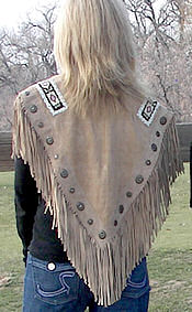 ladies fringed shawl in camel, back view