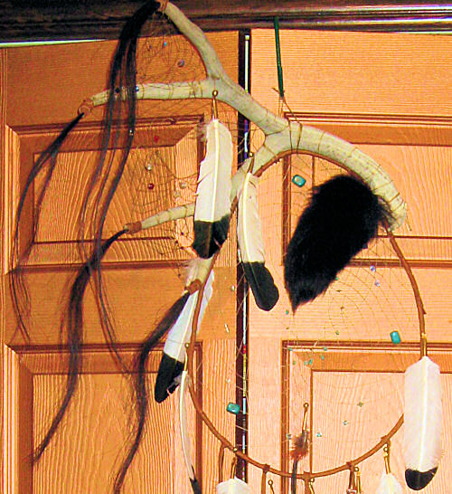 detail of dreamcatcher web and black fox tail