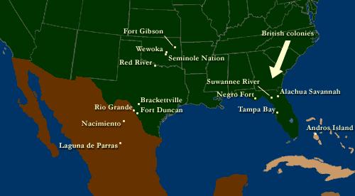 Afro-Seminole Creole language map