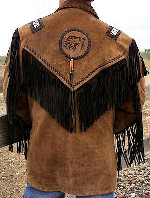 back of black fringed jacket with turquoise eagle beadwork