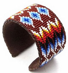 brown feather seed beaded fire pattern wide cuff bracelet