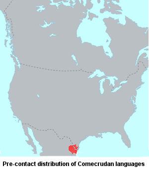 Comecrudan language map