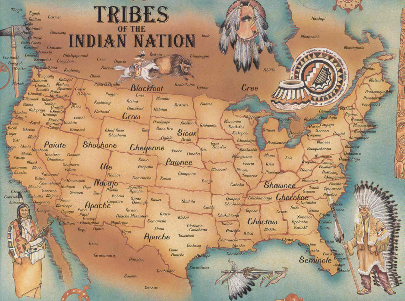 Map of United States Indian Tribes United