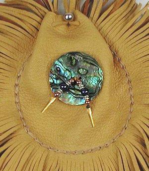 abalone buckskin fringed medicine bag