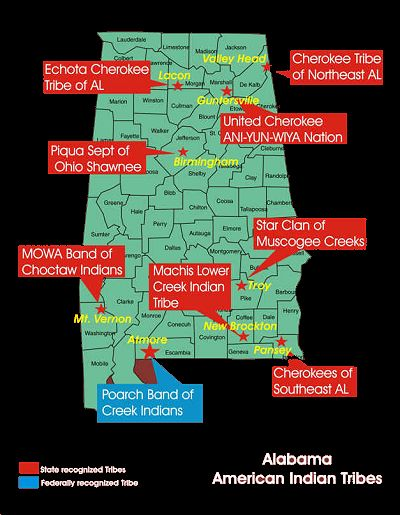 alabama federal and state tribes map