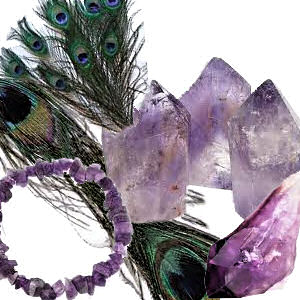 Details of amethyst crystals and peacock feathers