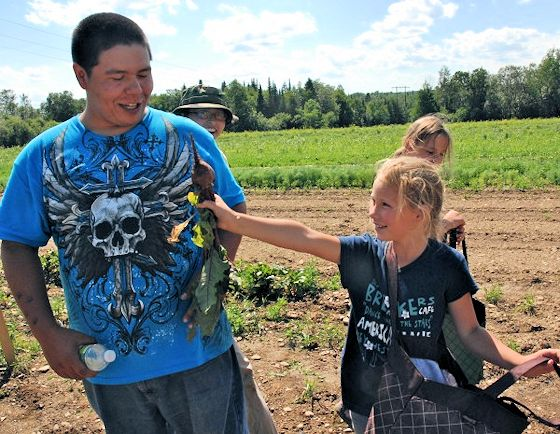 Aroostook Band of Micmac children on tribal farm