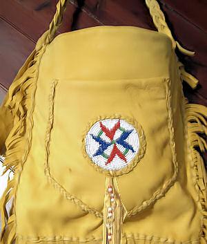 detail of beaded buckskin bag