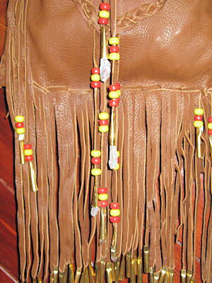 detail of beaded buckskin bag