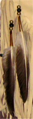 Detail of feathers on buckskin quiver