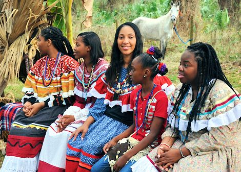 Seminole Indians in traditional dress.