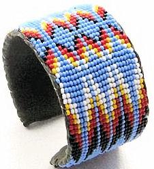 blue feather seed beaded fire pattern wide cuff bracelet