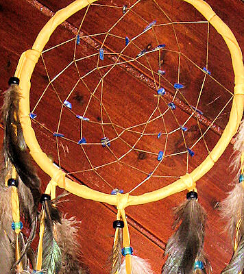 detail of blue lapis and crystal bicones buckskin dreamcatcher