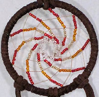 spiral seed beaded dream catcher
