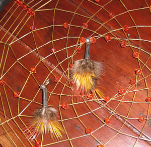 eagle feather crystal dreamcatcher detail