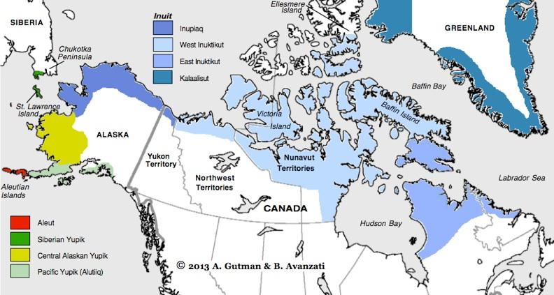 Eskimo-Aleut language distribution map