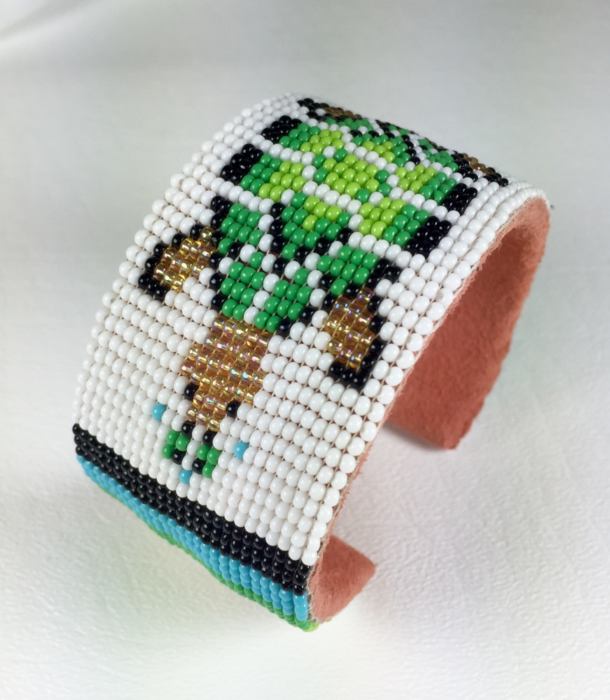 wide seed beaded turtle cuff bracelet