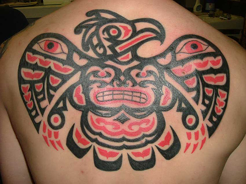 Tattoo of an Aztec Eagle on the Back