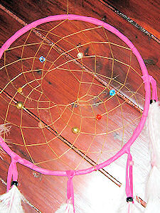 detail of blue lapis buckskin dreamcatcher
