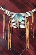 12 Row Buffalo Bone Breastplate Choker with Abalone Disc and Cus