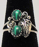Two Malachite Stones Sterling Silver Ring