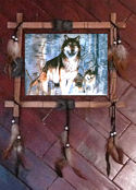 "Three Wolves 12"" x 16"" Wolves Wall Hanging"