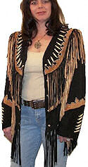 Cheyenne Fringed Suede Leather Jacket with Buffalo Bone Beads <font class=tiny