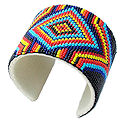 Beaded American Indian design cuff seed bead bracelet