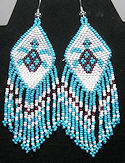 Turtle Beaded seed bead earrings.