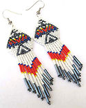 Beaded Thunderbird rain Seed Bead Dangle Earrings