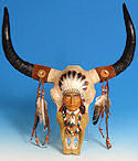 Buffalo Skull with Indian Chief -  <font color=red>ONLY 1 LEFT!</FONT>