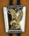 Gold Eagle on Silver Shield Bolo Tie
