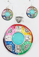 Multi-Color Four Directions Pendant & Earrings Set