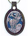 Bull Elk Enameled Delux Leather Keychain