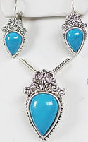 Turquoise Pendant & Matching Pierced Earrings
