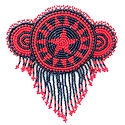 Red shooting star seed bead barrette