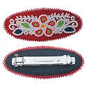vintage,red flower design, seed beaded barrette 2