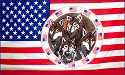 US Flag with Wolves in Circle