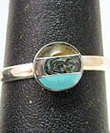 Abalone and Turquoise Inlaid Stone Ring