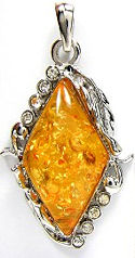 Amber and White CZ Diamond Shaped Pendant