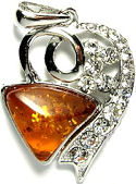 Amber and Cubic Zirconia Heart Pendant #1988 Light