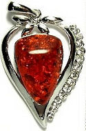 Amber and Cubic Zirconia Heart Pendant #1988 Dark