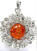 Amber and Cubic Zirconia Silver Pendant 2