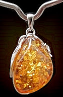 Dark Golden Amber Pendant #1701