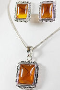 Amber Pendant & Matching Earrings