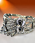 Antique Silver CZ Owl Bracelet