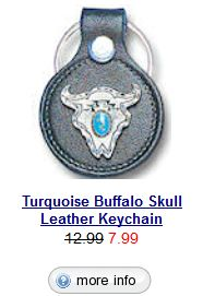 Turquoise Buffalo Head Leather Keychain