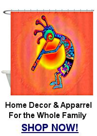 Orange Kokopelli shower curtain