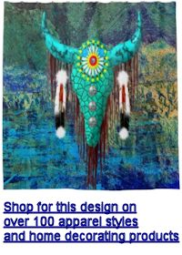 Turquoise Buffalo Skull Shower Curtain