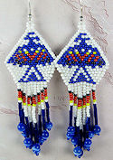 Beaded Thunderbird Red White Blue seed beads